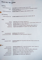 Ink Wines by the Glass List