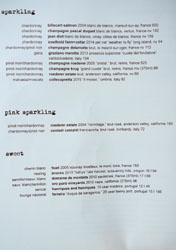 Ink Wine List: Sparkling, Pink Sparkling, Sweet