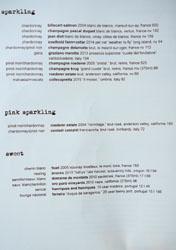 Ink Wine List: Sparkling, Pink Sparkling, Sweet
