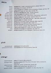 Ink Wine List: White, Pink, Orange