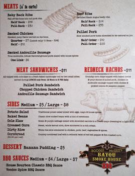 Boogie McGee's Bayou Smokehouse BBQ Menu