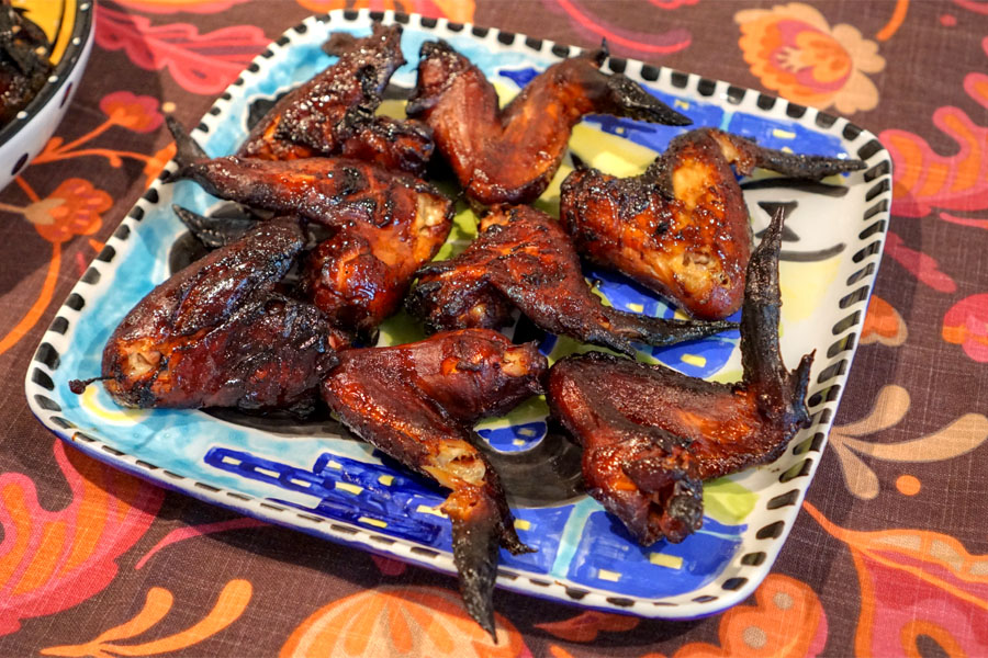 Smoked Chicken wings with Trader Joe's Kentucky Bourbon BBQ Sauce