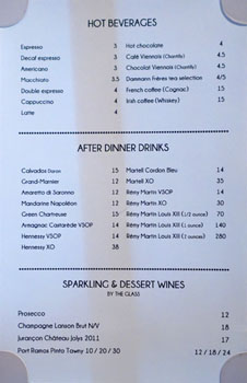 Le Petit Paris After Dinner Drink List