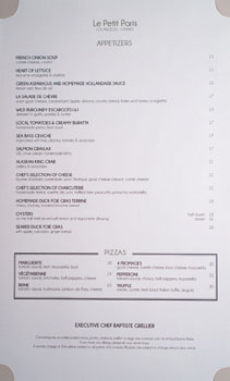 Le Petit Paris Menu: Appetizers, Pizza