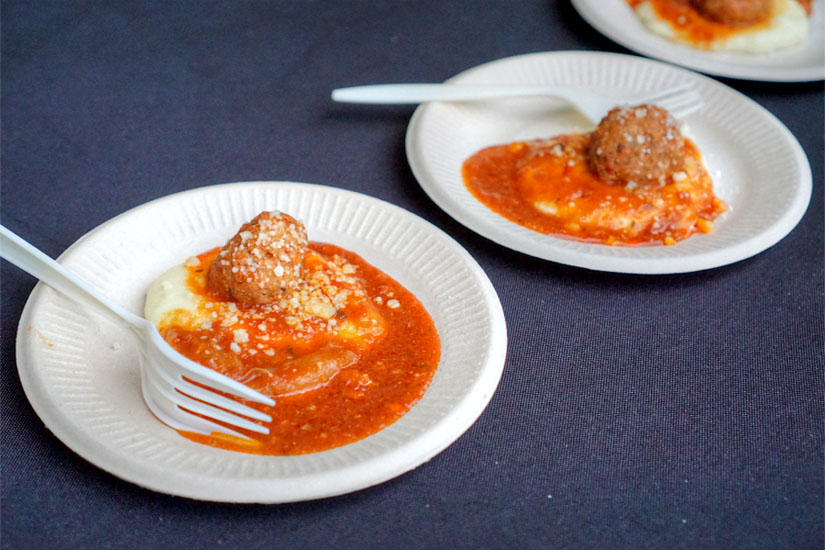 Braised Meatballs with Potato Purée, Cipollini Onions, and Parmesan