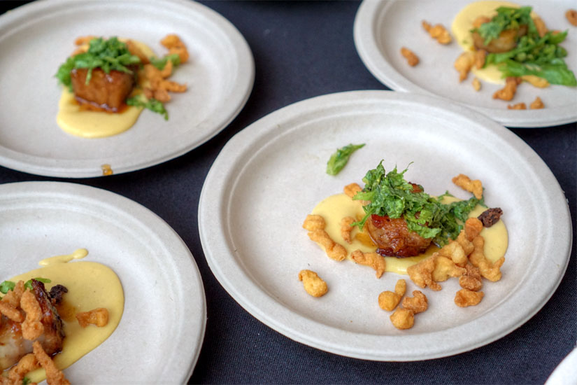 Amaretto Glazed Pork Belly with Spaetzle and Caramelized Peaches