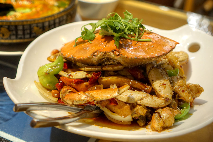 Szechuan Style Stir Fry with Special Chili Sauce - Dungeness Crab