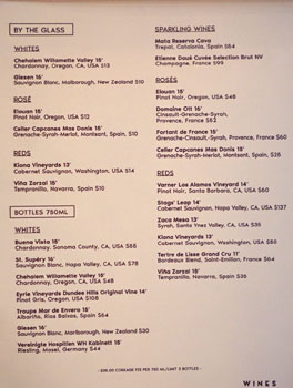 Tintorera Wine List