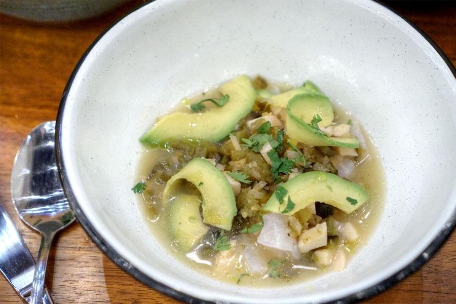 seabass ceviche, coconut water, chile poblano, cilantro