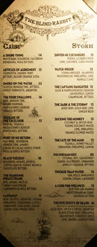 The Blind Rabbit Cocktail List