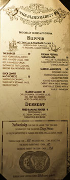 The Blind Rabbit Food Menu
