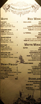 The Blind Rabbit Beer & Wine List