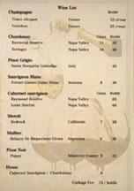 Inaba Wine List