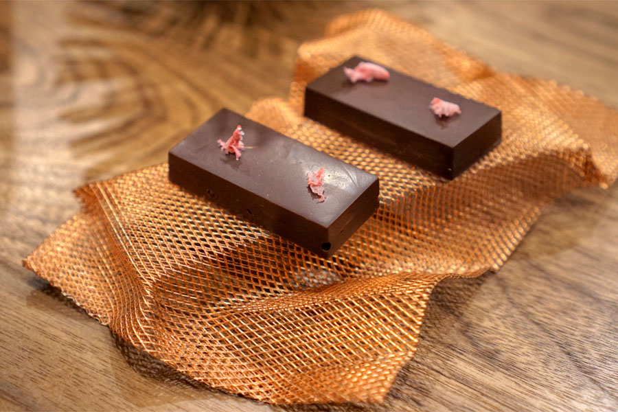 bitter chocolate, cherry, preserved sakura