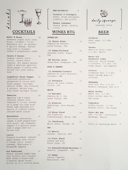 The Exchange Cocktail, Beer & Wines by the Glass List