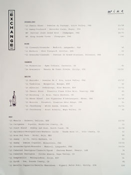 The Exchange Wine List