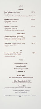 Columbia Room Punch Garden Wine List & Food Menu