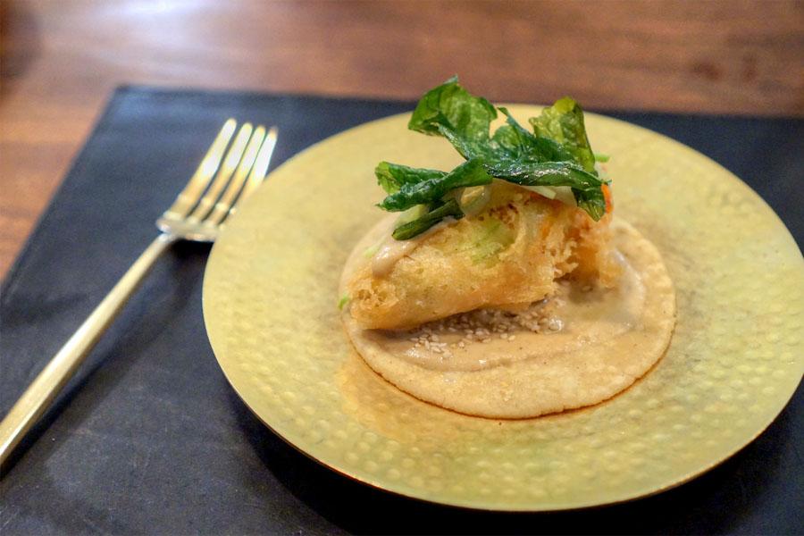 Squash Blossom Taco, White Mole & Fried Herbs