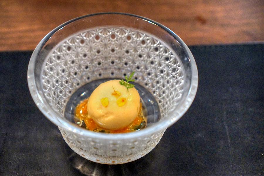 Sun Gold Tomato Sorbet & Gooseberry Jam