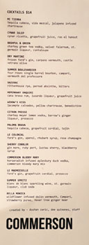 Commerson Cocktail List