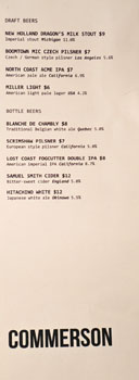 Commerson Beer List