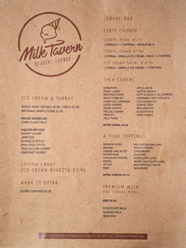 Milk Tavern Menu