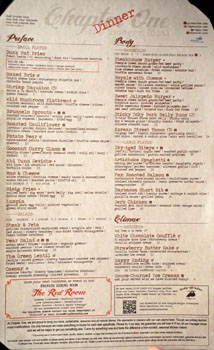 Chapter One Menu