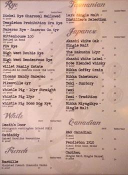 Chapter One Spirits List: Rye/White/French/Tasmanian/Japanese/Canadian