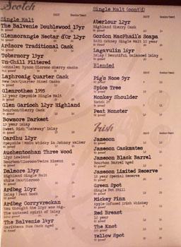 Chapter One Spirits List: Scotch/Irish