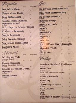Chapter One Spirits List: Tequila/Mezcal/Gin/Vodka