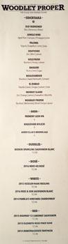 Woodley Proper Beverage List
