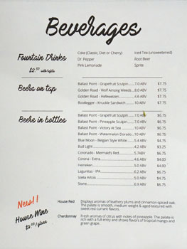 The Smoking Ribs Beverage List