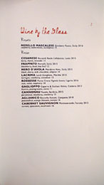 Cal Mare Wines by the Glass List