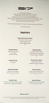 Restaurant 917 Menu: Appetizers