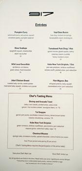 Restaurant 917 Menu: Entrées, Chef's Tasting Menu