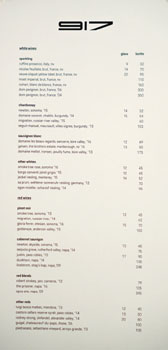 Restaurant 917 Wine List