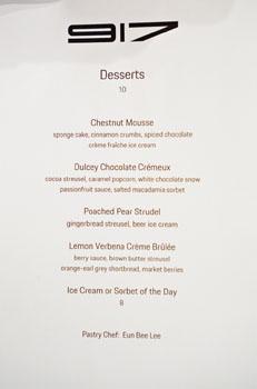 Restaurant 917 Dessert Menu