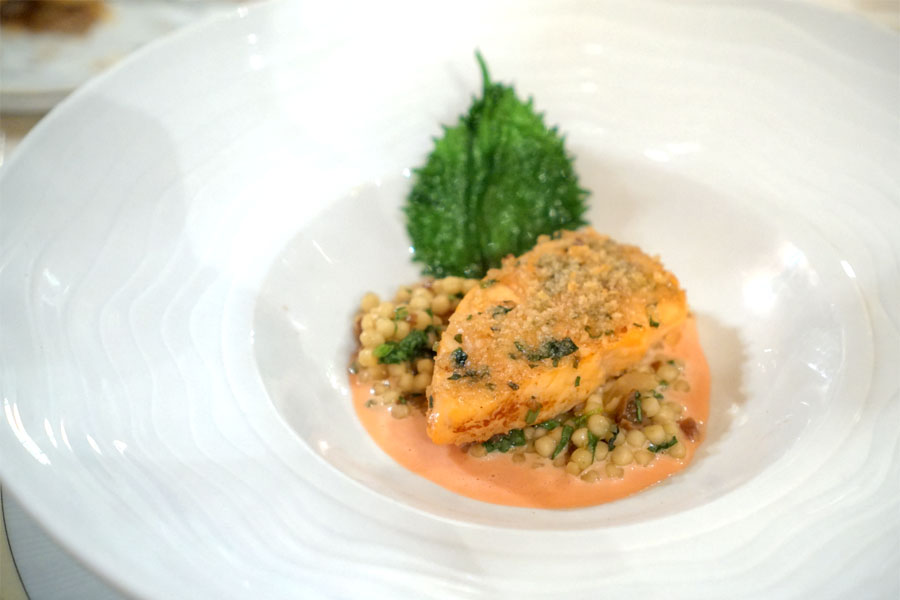 Herb Roasted Salmon, Israeli Couscous, Blood Orange Beurre Blanc