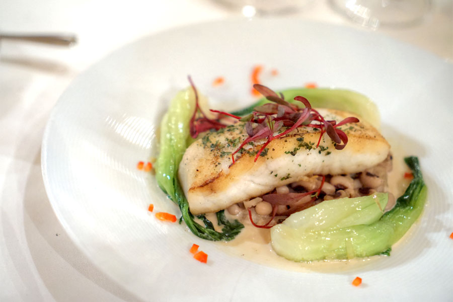 Fresh Pacific Halibut, Baby Bok Choy, New Year's Black Eyed Peas & Ginger Sauce