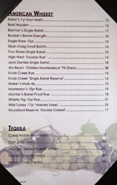 The Hobbit American Whiskey/Tequila List