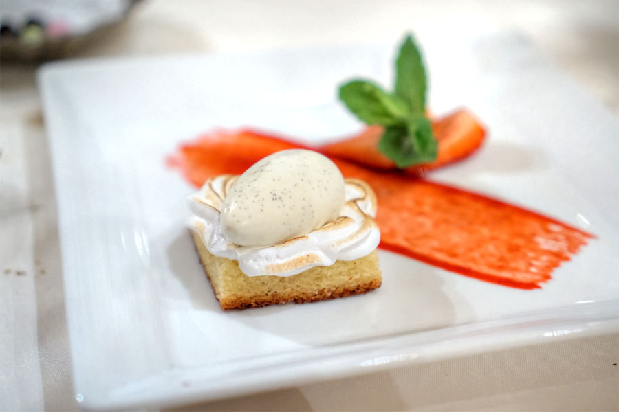 Almond Cake, House made Vanilla Bean Ice Cream, Fresh Strawberry