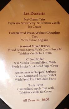 Basilic Dessert Menu