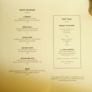 The NoMad Mezzanine Menu: Main Courses
