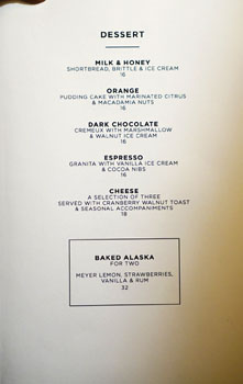 The NoMad Mezzanine Dessert Menu