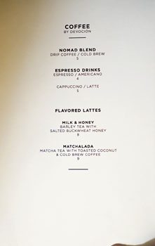 The NoMad Mezzanine Coffee List
