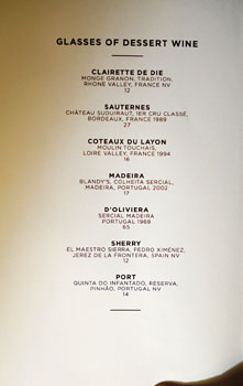 The NoMad Mezzanine Dessert Wine List