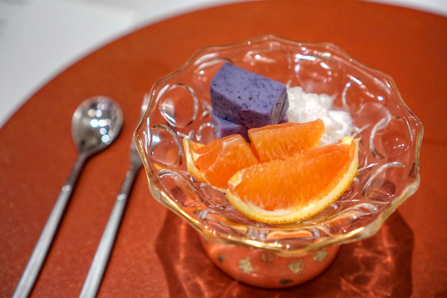 Purple Yam Yokan w/ Coconut Tapioca & Fruits