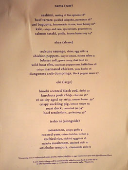 Hinoki & the Bird Menu