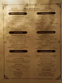Apotheke Cocktail List