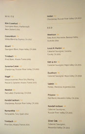 Kith and Kin Wine List: White, Red